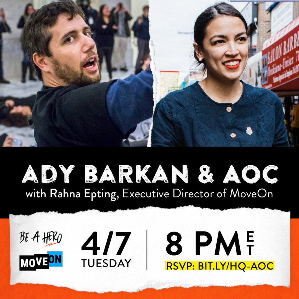 Ad graphic for an event with Ady Barkan and AOC