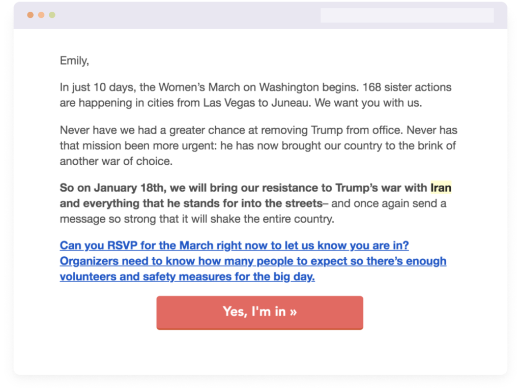 RSVP Email example for Women's March