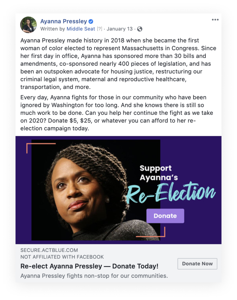 Facebook ad for Ayanna's Re-Election