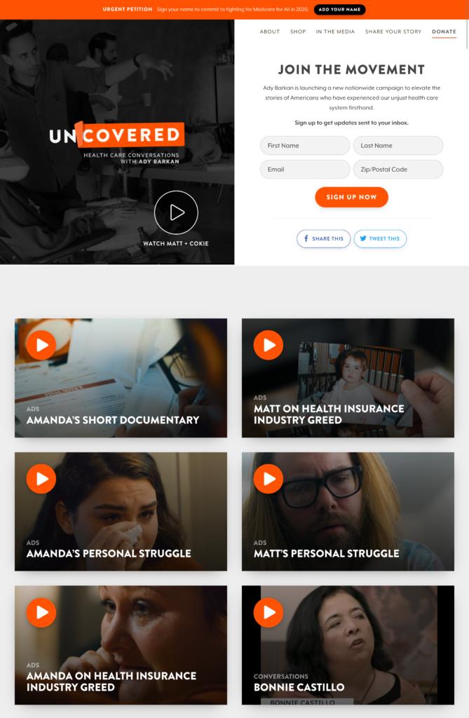Uncovered website design